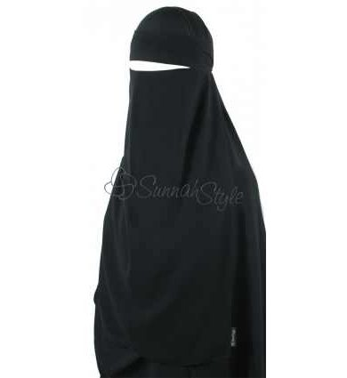 Long Pull-Down One Piece Niqab Black – Sunnahstyle